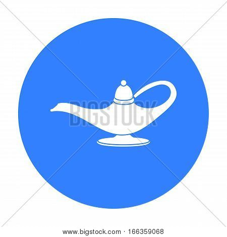 Genie s lamp icon in blue style isolated on white background.