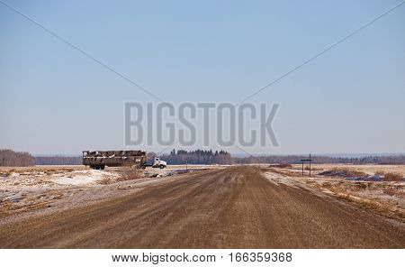 A semi truck and trailer loaded with round straw bales driving down a rural countryside gravel road in an agricultural landscape