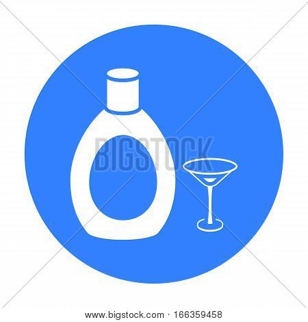 Chocolate liqueur icon in blue style isolated on white background. Alcohol symbol vector illustration.
