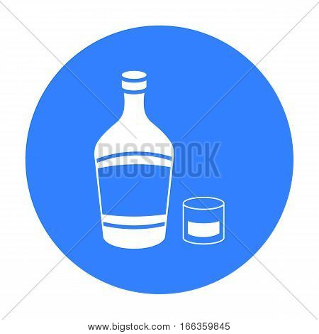 Liqueur icon in blue style isolated on white background. Alcohol symbol vector illustration.