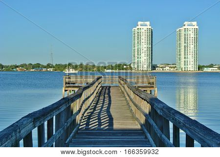 Wooden pier or jetty on Halifax river
