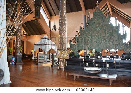CHIANG RAI THAILAND - JANUARY 8 2017: Lobby at the Anantara Golden Triangle Elephant Camp and Resort. The Camp is run as a charity for elephants and their handlers.