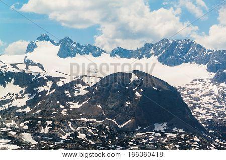 Summer Snowy Landscape Of A Mountain Plateau Dachstein Krippenstein,  Austria