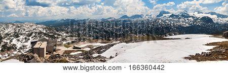 Panoramic View Of Summer Snowy Landscape Of A Mountain Plateau Dachstein-krippenstein,  Austria