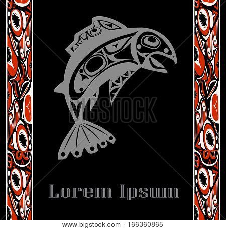 Native fish Vector isolated on black background with native red ornament