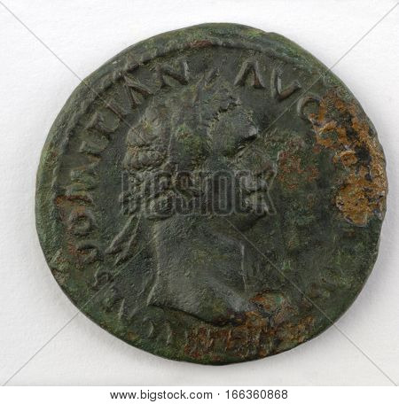 a roman coin  isolated on a white