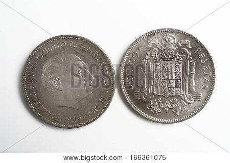 Spanish currency Francisco Franco cinco pesetas 1949