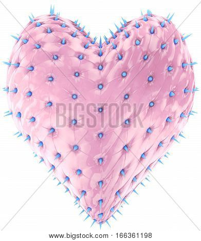 fashion glossy pink heart whith blue spikes
