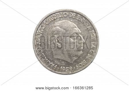 Spanish currency Francisco Franco diez centimos isolated on a white background