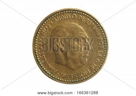 Spanish currency Francisco Franco una peseta isolated on a white background