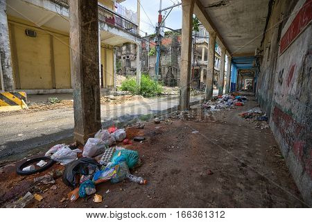 June 9 2016 Colon Panama: garbage lays along many of the streets of the port town
