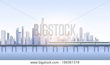 City Skyscraper View Cityscape Background Skyline Train Silhouette with Copy Space Vector Illustration