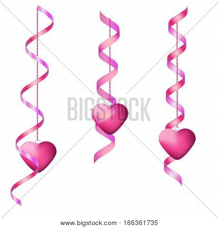 Pink hanging streamers and hearts. Isolated Design elements for party invitation romantic events speed dating social media valentine's Day cards promotion
