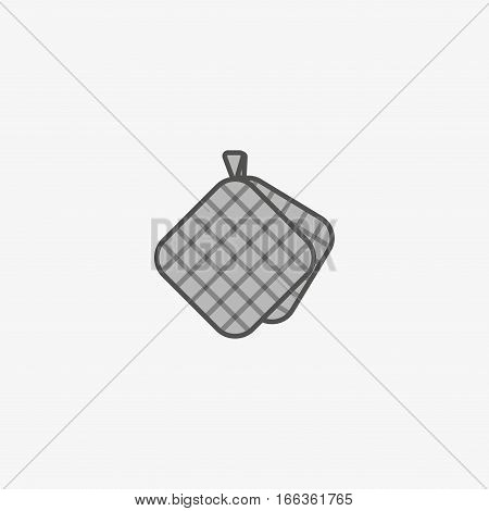 Flat pot holder icon for taking hot kitchen tools shcu as pots, pans, baking pan. Oven mittens.