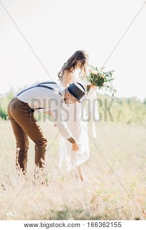 fine art wedding photography. bride and groom  at the wedding in nature.