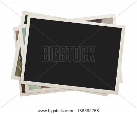 Stack of photos isolated on white background. close up