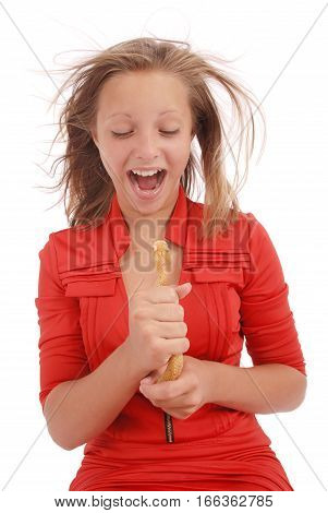 Teenage girl fights with toy snake simulating the fear of a snake isolated on white