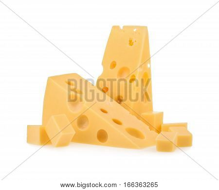 piece of cheese isolated on white background. close up