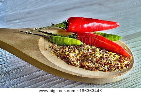 Chillies in a variety of forms and colors.