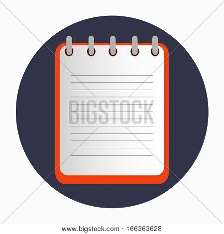 Red notepad on the rings with lines. Blank sheet on the dark blue background. School business diary.