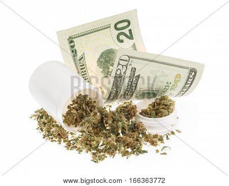 Marijuana And Money Isolated On White
