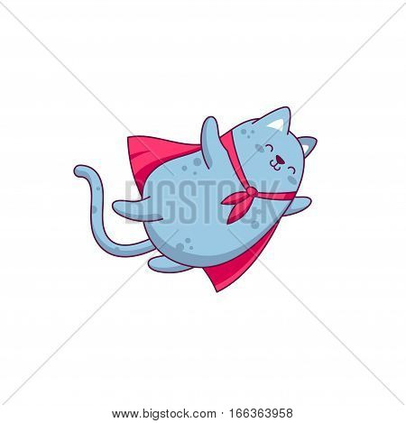 Vector character design funny fly cat on transparent background