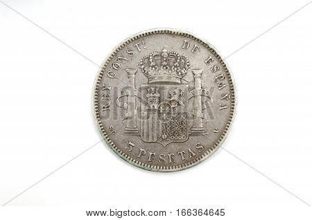 reverse of a coin of 5 pesetas hard finalnes nineteenth century Alfosnso XIII silver