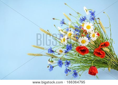 Bouquet Of Beautiful Flowers (cornflowers, Chamomiles Wheat And Poppies) With Copyspace