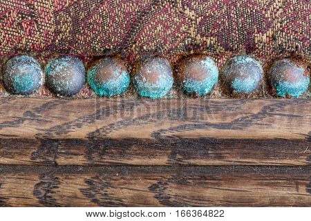 Blue Patina Upholstery Old Copper Nails Studs