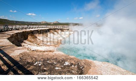 Excelsior Geyser In The Midway Geyser Basin Next To The Firehole River In Yellowstone National Park