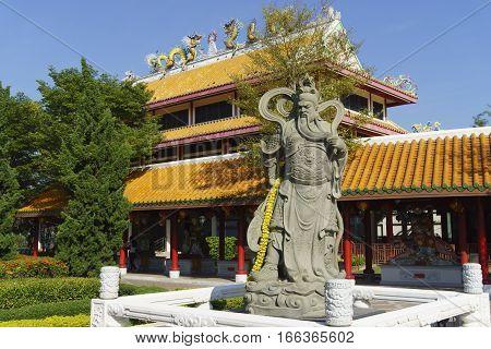 Chinese God, Guan Yu Statue at Suphanburi Thailand