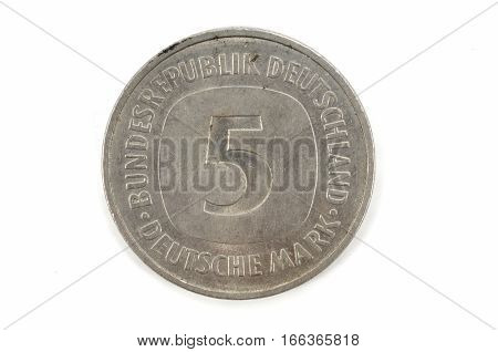 5 five Deutsche Mark Bundesrepubik Deutschland isolated on a background