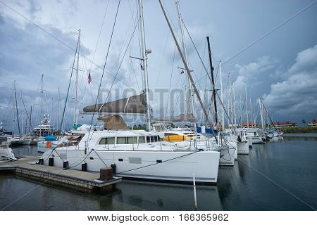 June 9, 2016 Shelter Bay, Panama: luxury yachts docked in the private marina by the Panama Channel