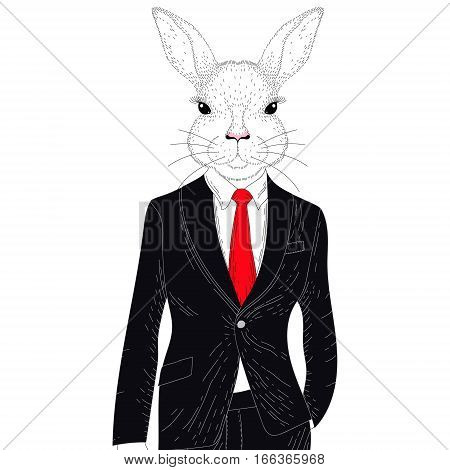 Vector cute rabbit boy in elegant classic suit. Hand drawn anthropomorphic animal cartoon, cheerful fashion bunny hipster, illustration for t-shirt print, kids greeting card, invitation for party.