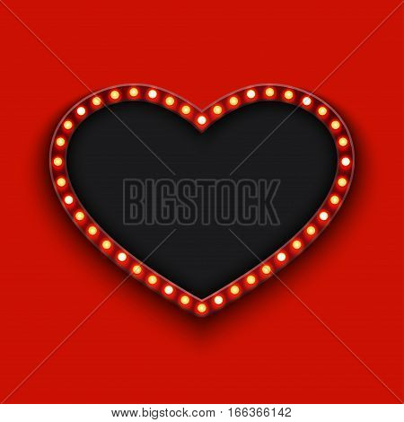 Vector modern concept retro billboard and heart icon on red background with place for your text