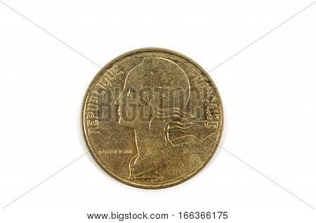 French Centimes coin isolated on a background