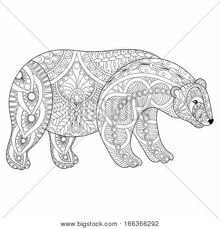 Vector zentangle polar bear head for adult anti stress coloring pages, book, white bear for art therapy, mascot, tribal tattoo art, greeting card. Hand drawn patterned illustration.