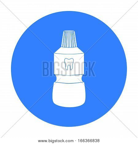 Bottle of mouthwash icon in blue style isolated on white background. Dental care symbol vector illustration.