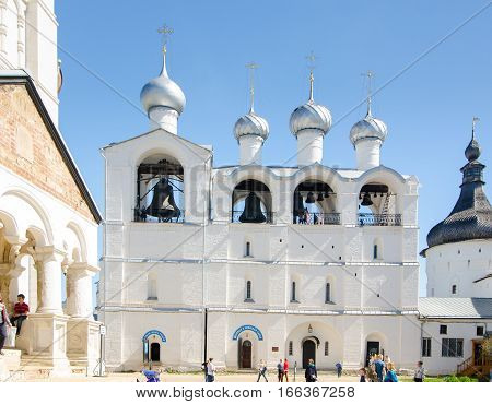 ROSTOV RUSSIA - MAY 3 2016: The belfry of the assumption Cathedral is included in the ensemble of the monuments of Rostov Kremlin. Golden Ring of Russia