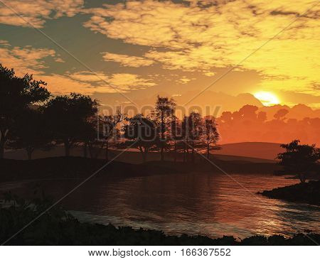3d illustration epic landscape with sunset river and clouds