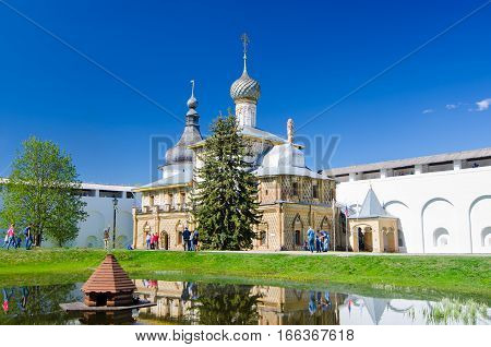 ROSTOV RUSSIA - MAY 3 2016: Hodegetria Church - one of the churches in the Rostov Kremlin Yaroslavl oblast Russia. Golden Ring of Russia.