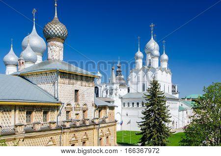 Hodegetria Church and Church of the Resurrection of Christ in the Rostov Kremlin Yaroslavl oblast Russia. Golden Ring of Russia.