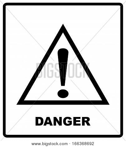 Warning sign icon, isolated on white background, vector illustration. Cargo shipping banner for box. Vector illustration. Black silhouette isolated on white. Packaging symbol in flat style
