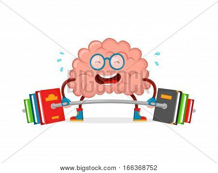 train your brain. brain vector cartoon flat illustration fun character creative design. educationsciencesmart brain books fitness concept.train lifts with book barbell. isolated on white background