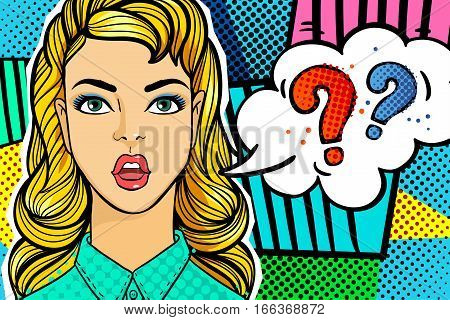 Surprised and shocked woman in pop art comics style with question word bubble. Question sing.