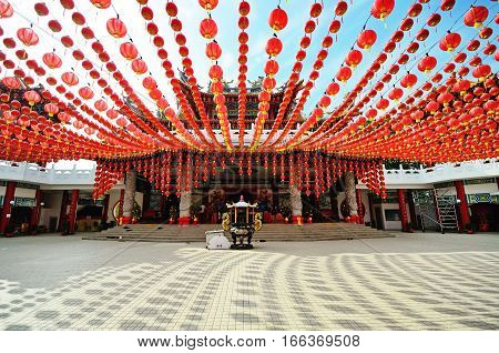 Lanterns Decoration At Thean Hou Temple During The Month Of Chinese New Year, Kuala Lumpur, Malaysia