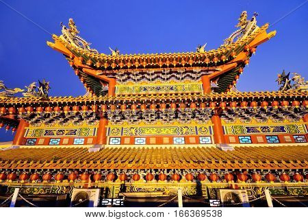 Thean Hou Temple Roof Decorated With Chinese Lanterns