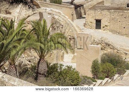 ruins of Santa Barbara hermitage inside the Santa Barbara castle in Alicante spain