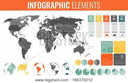 Infographic Elements Set. World map, markers, charts and other elements. Business infographic. Vector illustration