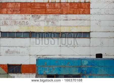 Photo of factory or warehouse building wall.